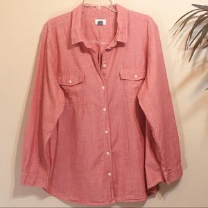 Old Navy Pink-Red Chambray Shirt